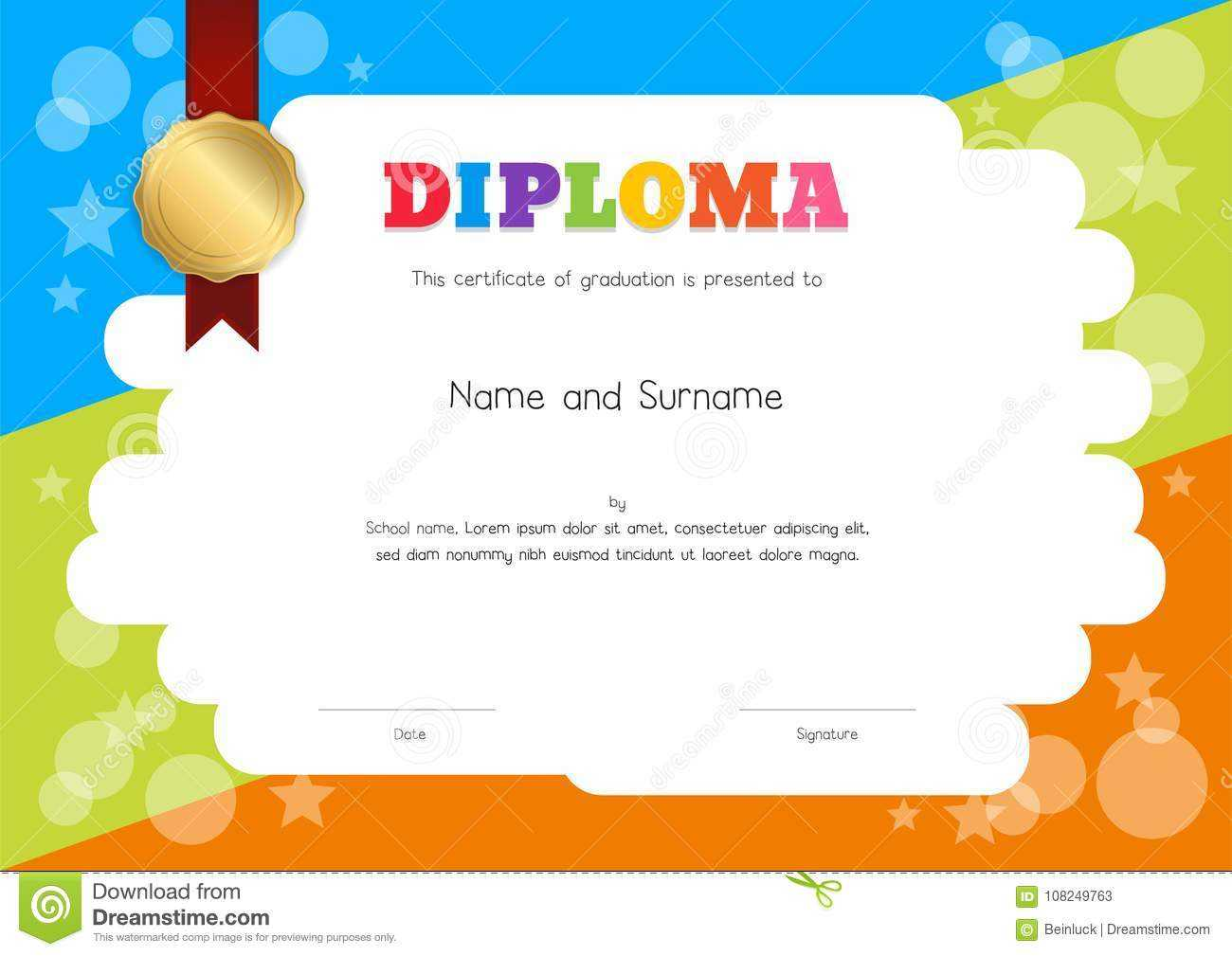 Kids Diploma Or Certificate Template With Hand Drawing Within Children's Certificate Template