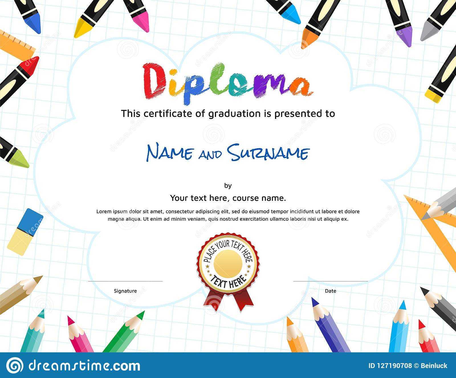 Kids Diploma Or Certificate Template With Painting Stuff Regarding Preschool Graduation Certificate Template Free