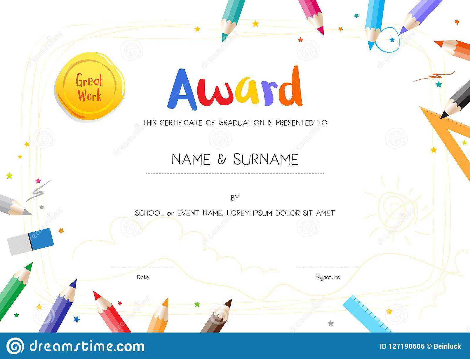 Kids Diploma Or Certificate Template With Painting Stuff With Preschool Graduation Certificate Template Free