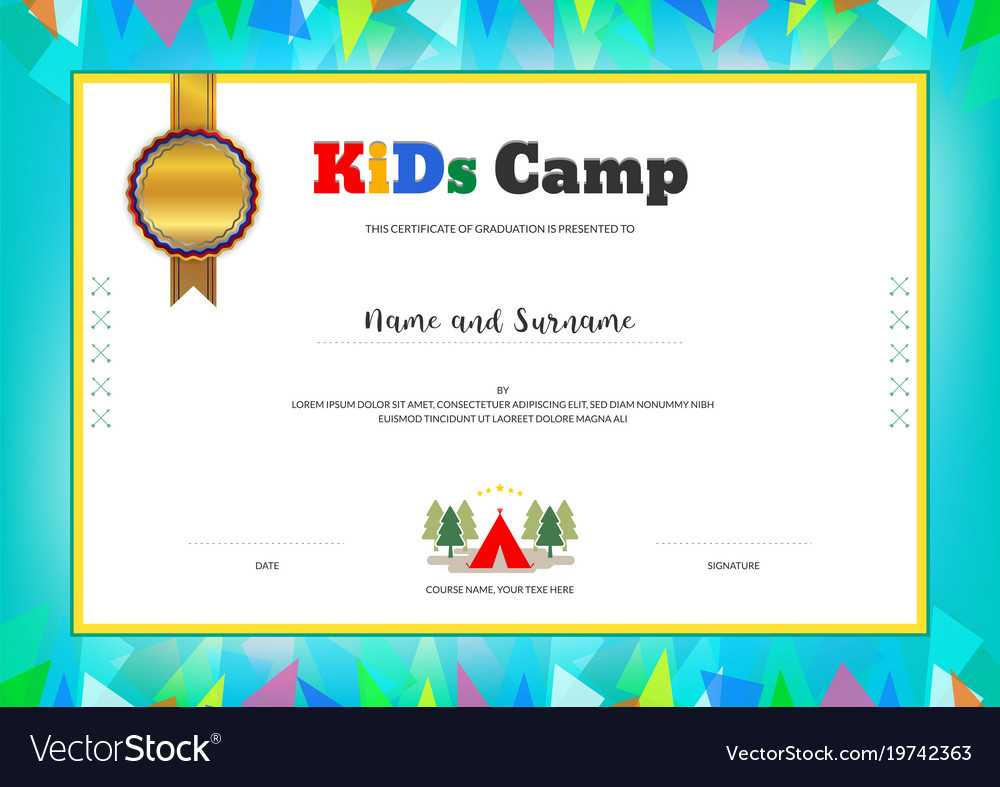 Kids Summer Camp Diploma Or Certificate Template Inside Summer Camp Certificate Template