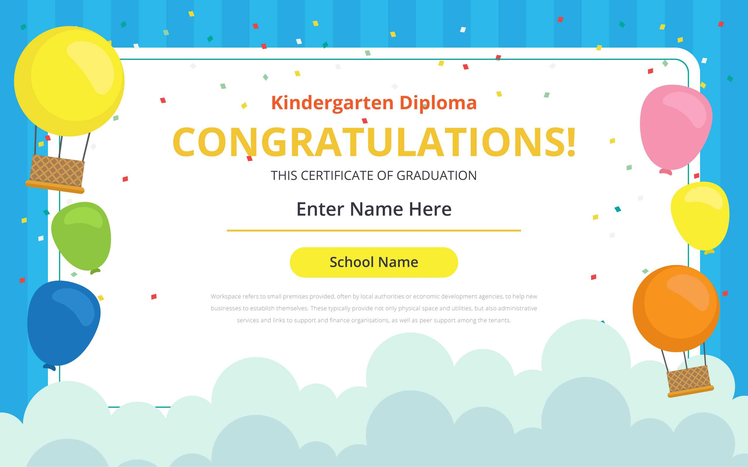 Kindergarten Certificate Free Vector Art - (21 Free Downloads) With Small Certificate Template