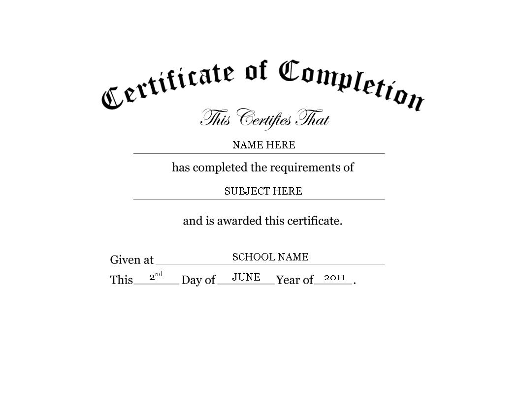 Kindergarten Preschool Certificate Of Completion Word Within Certificate Of Completion Template Word
