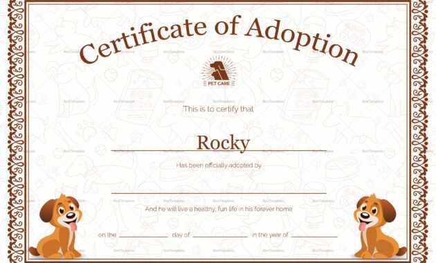 Kitten Adoption Certificate with regard to Pet Adoption Certificate Template
