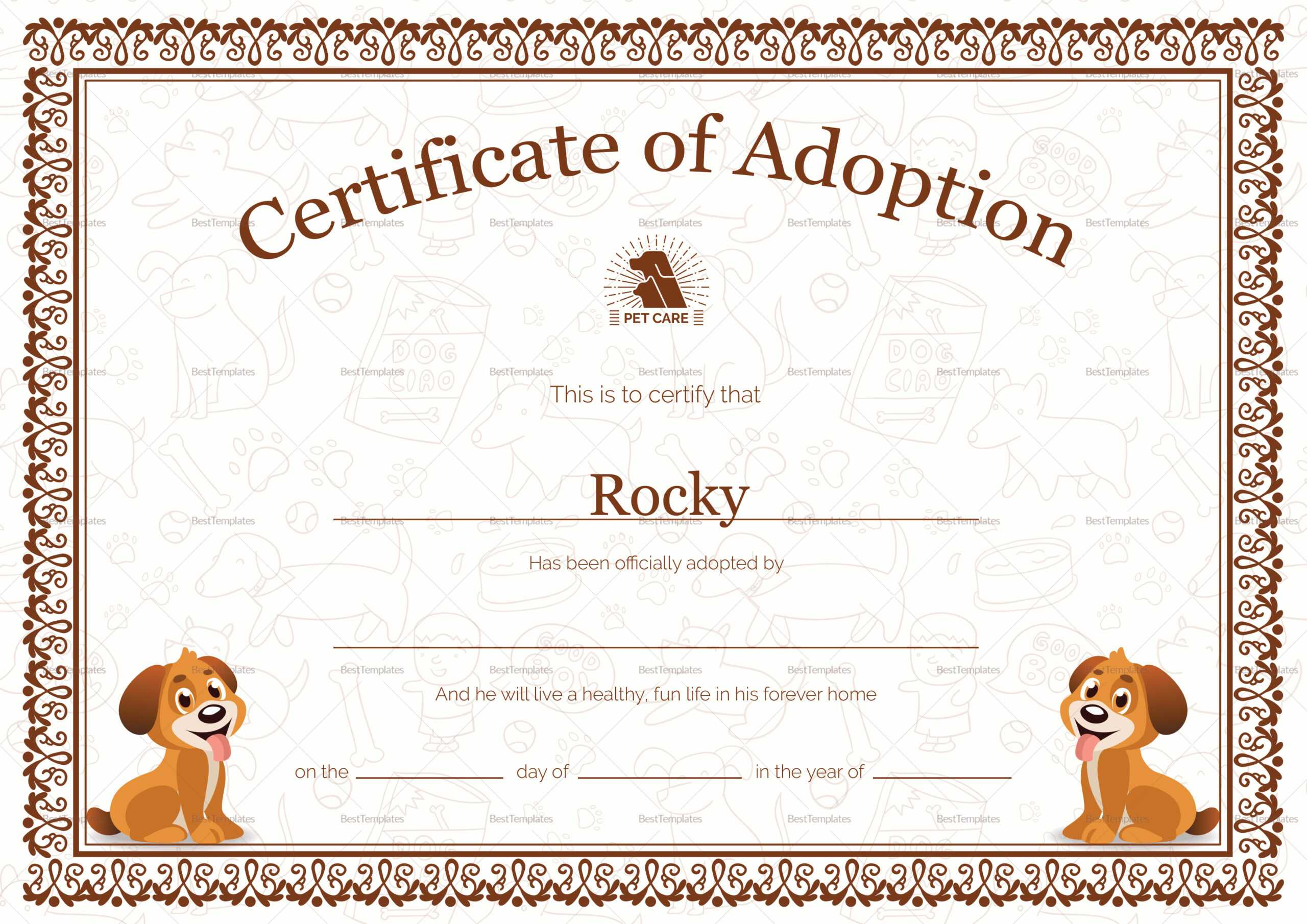 Kitten Adoption Certificate With Service Dog Certificate Template