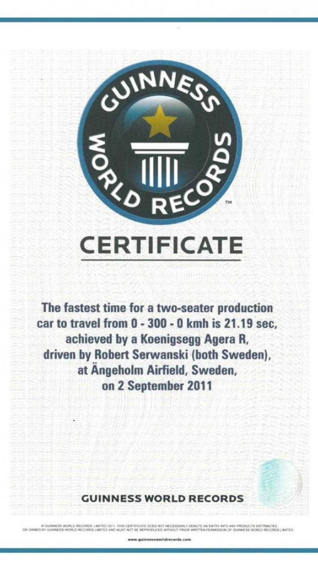 Koenigsegg Agera R Guiness World Record Certificate 30.11 With Regard To Guinness World Record Certificate Template