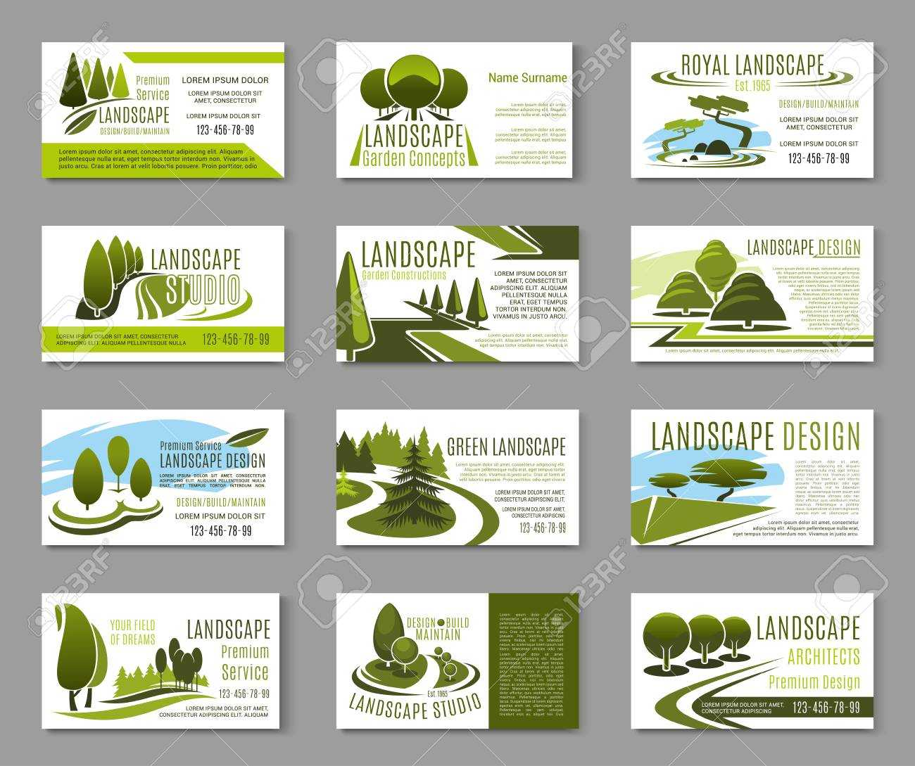 Landscape Design Studio Business Card Template With Landscaping Business Card Template