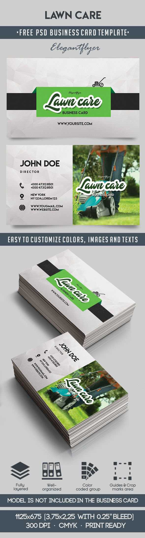 Lawn Care – Free Business Card Templates Psd On Behance For Lawn Care Business Cards Templates Free
