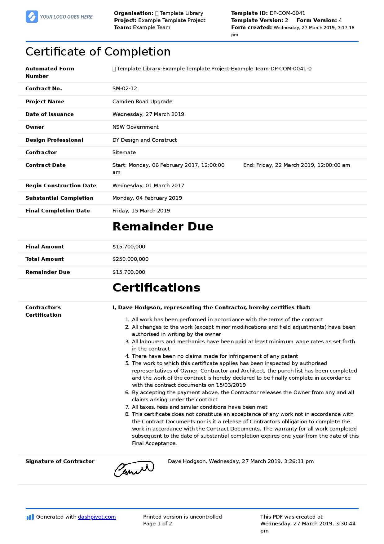 Letter Of Completion Of Work Sample (Use Or Copy For Yourself) Pertaining To Practical Completion Certificate Template Uk