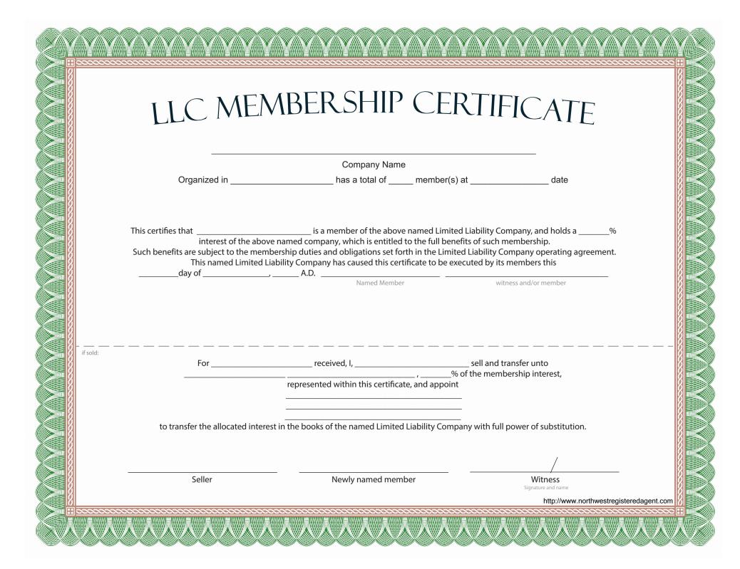 Llc Membership Certificate - Free Template In Certificate Of Ownership Template