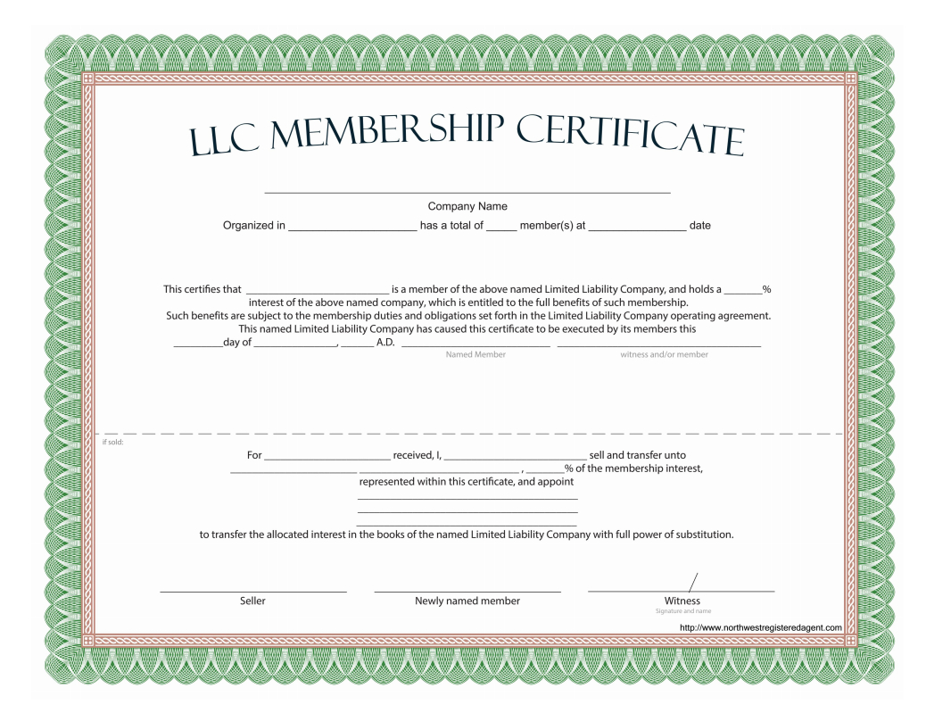 Llc Membership Certificate - Free Template With Llc Membership Certificate Template
