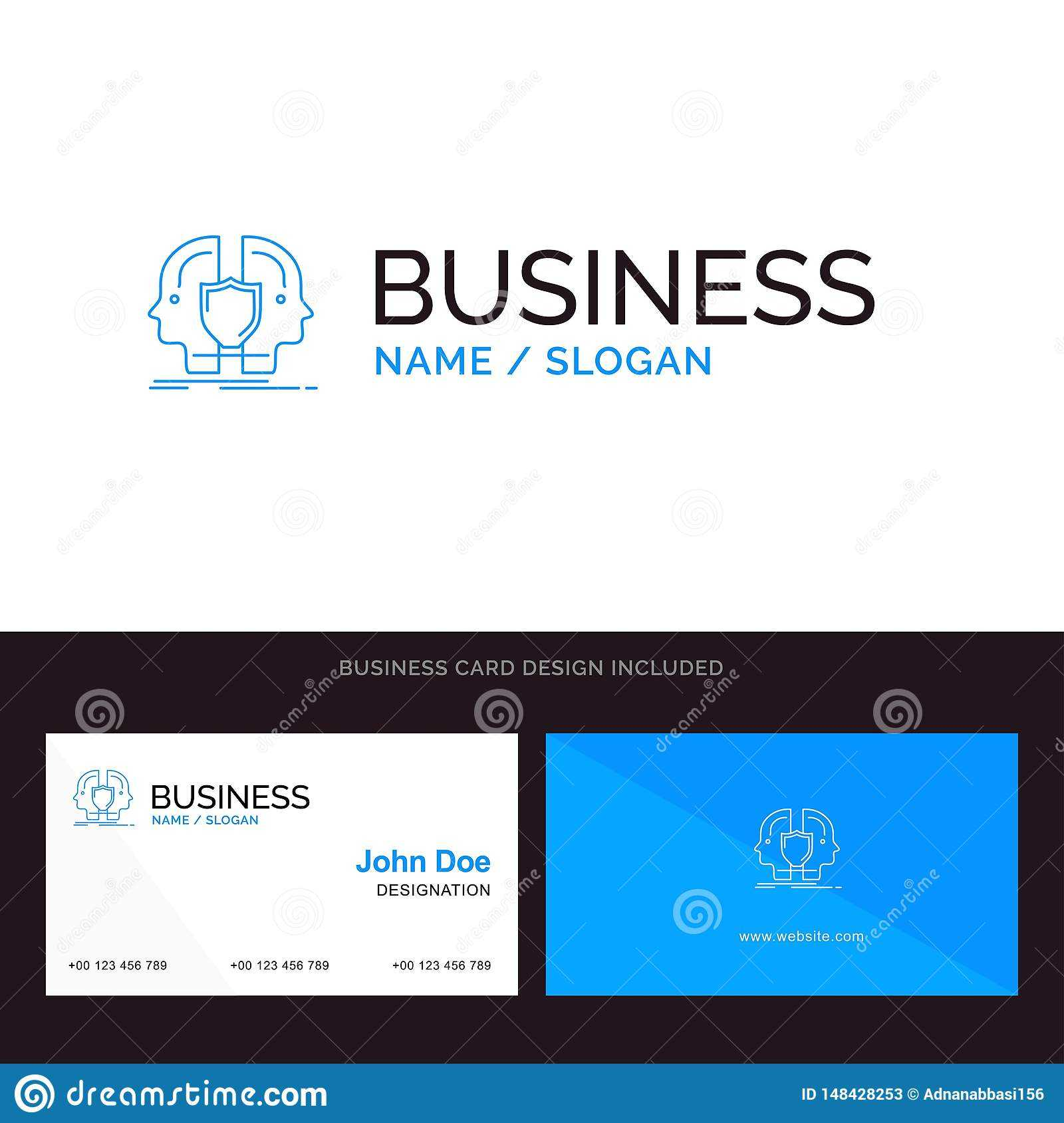 Man, Face, Dual, Identity, Shield Blue Business Logo And Within Shield Id Card Template