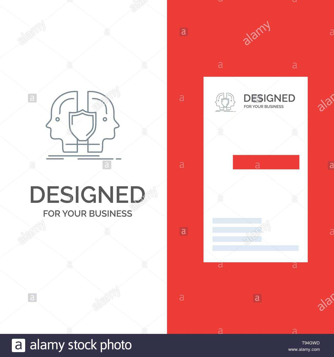 Man, Face, Dual, Identity, Shield Grey Logo Design And Within Shield Id Card Template