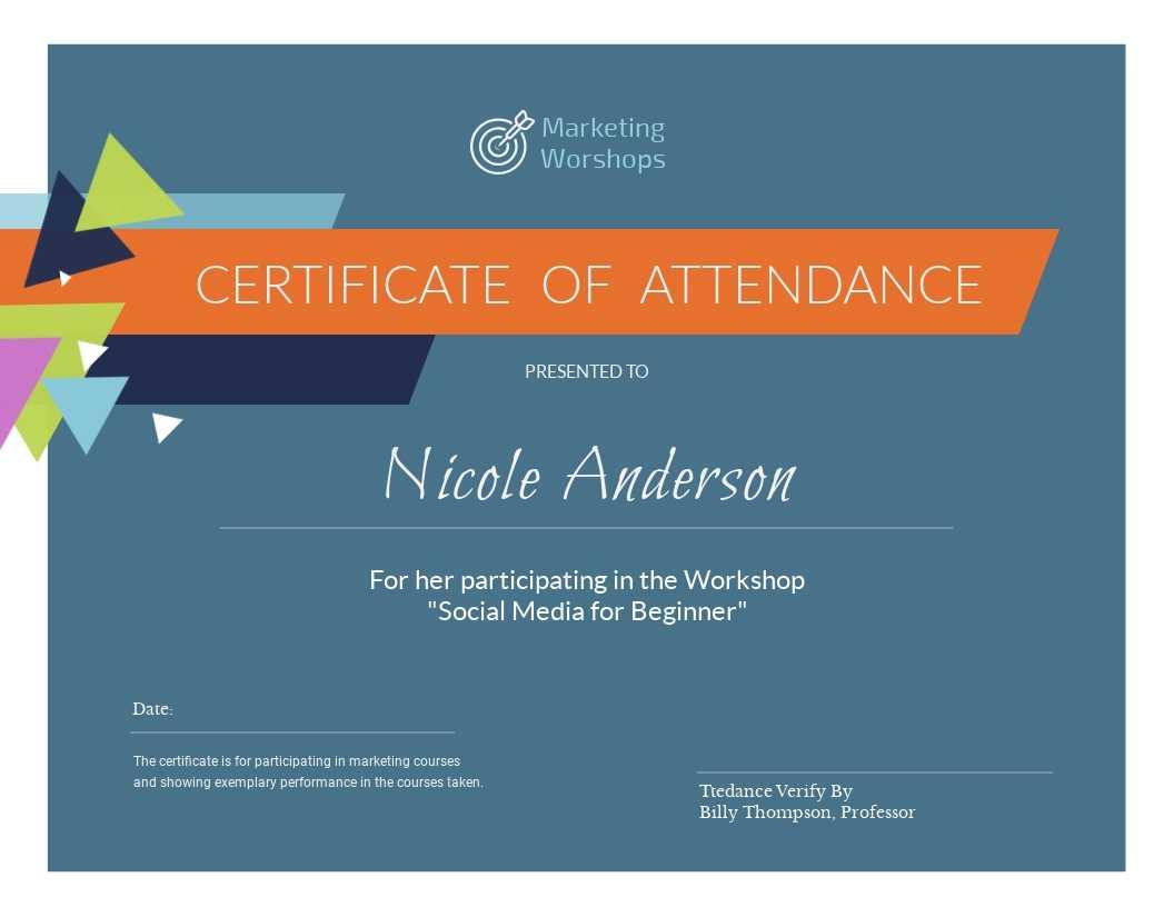 Marketing Workshop - Certificate Template - Visme Regarding Workshop Certificate Template