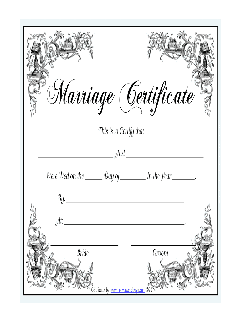 Marriage Certificate - Fill Online, Printable, Fillable With Regard To Blank Marriage Certificate Template