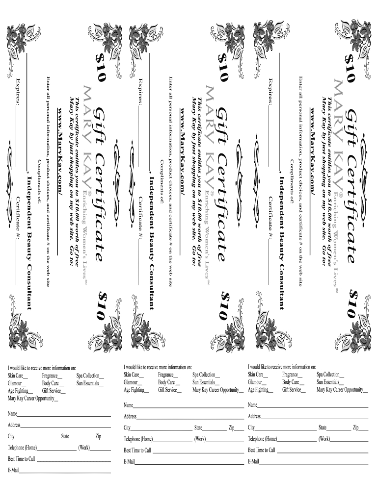 Mary Kay Gift Certificate - Fill Online, Printable, Fillable Inside Mary Kay Gift Certificate Template