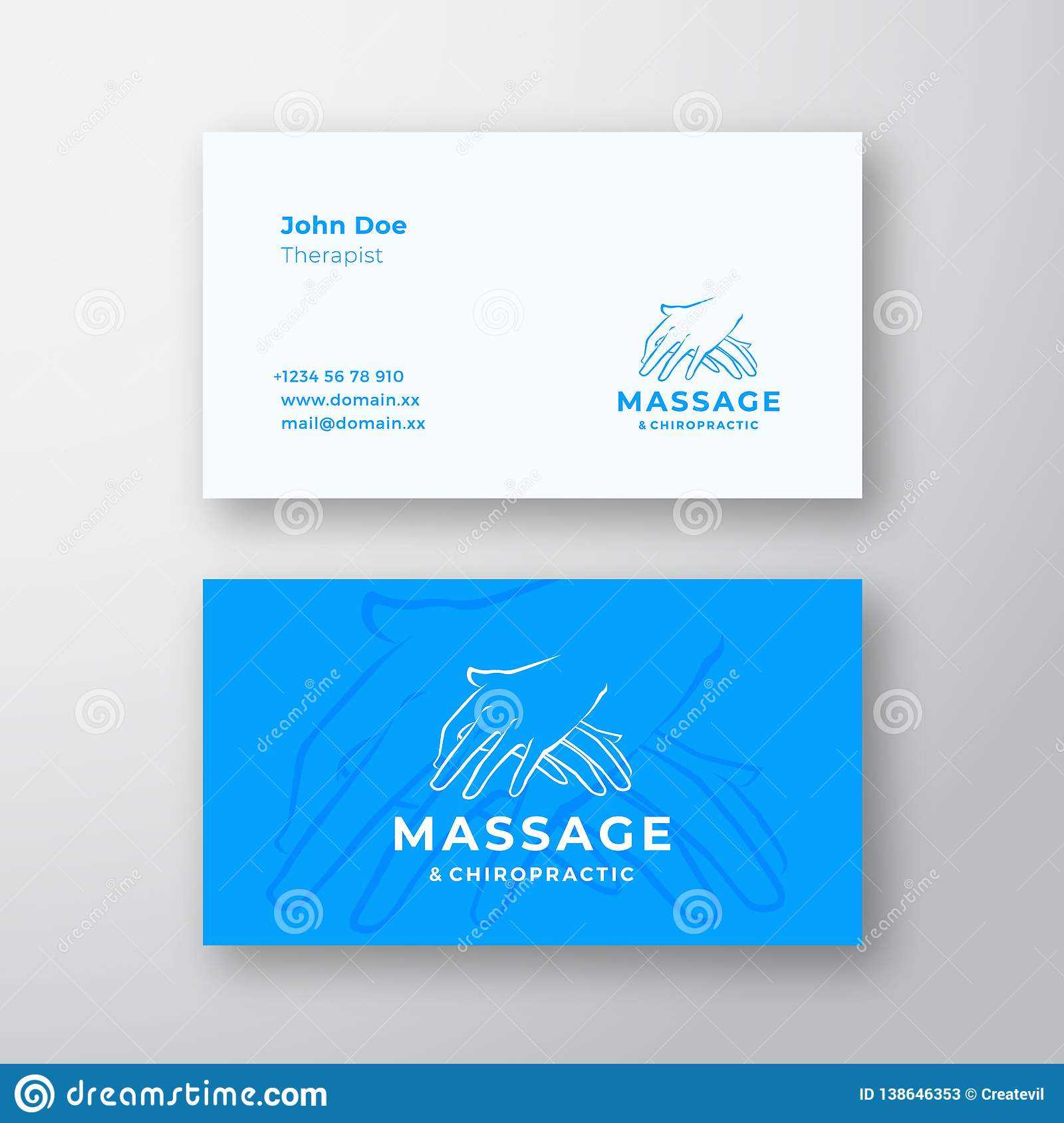 Massage And Chiropractic Abstract Vector Logo And Business Within Massage Therapy Business Card Templates