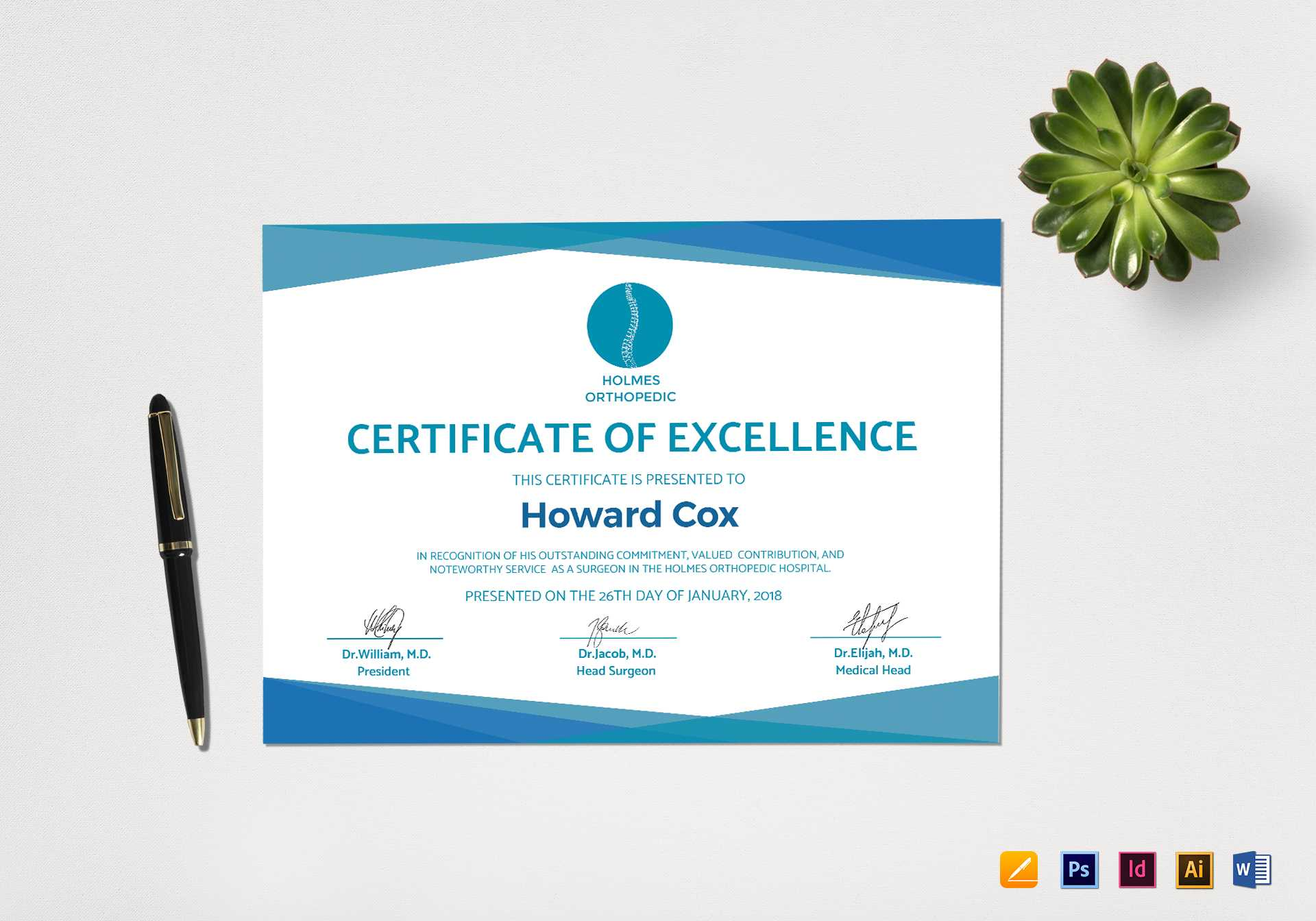 Medical Excellence Certificate Template Regarding Indesign Certificate Template