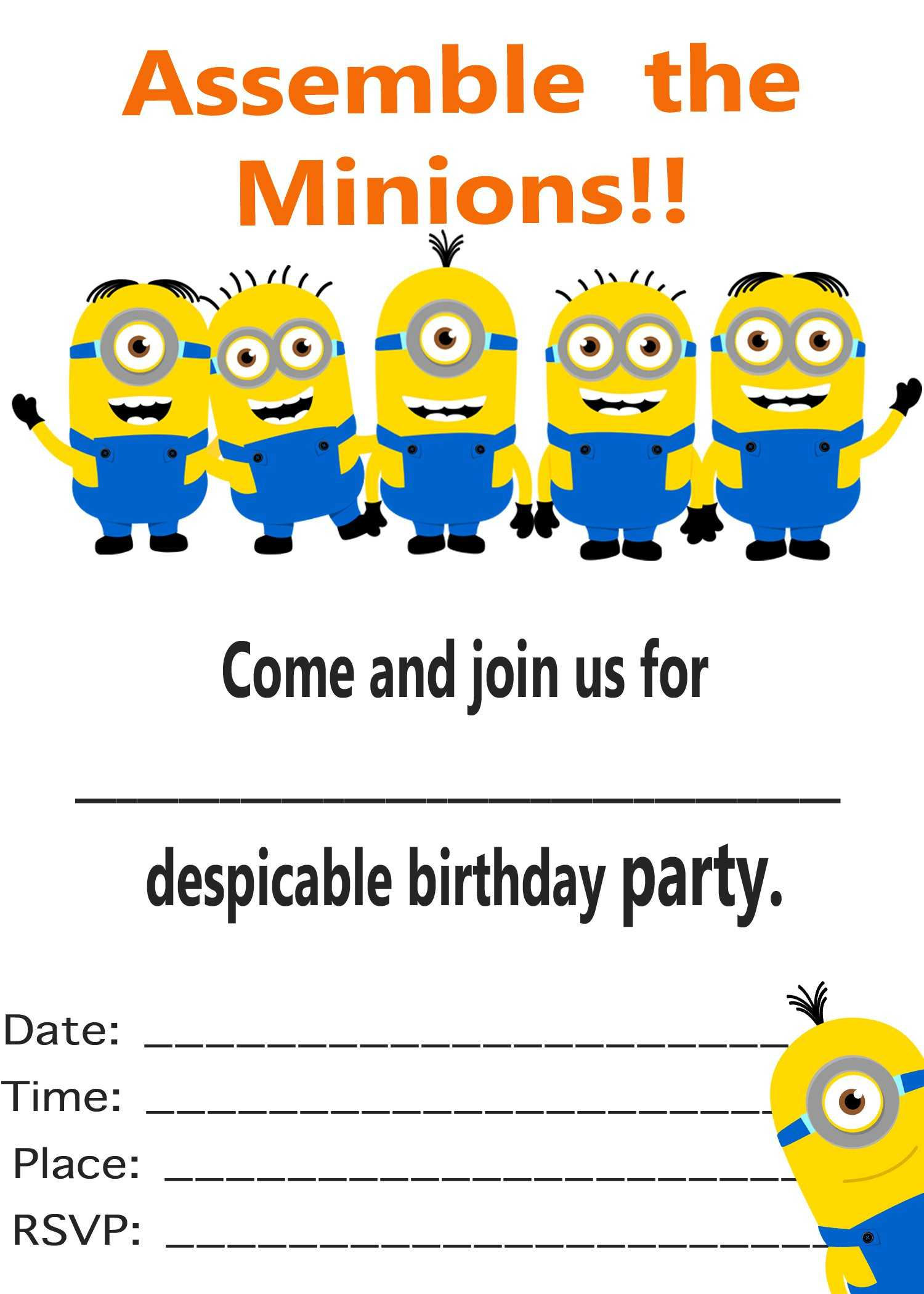 Minion Birthday Invitations : Minion Birthday Invitations Regarding Minion Card Template