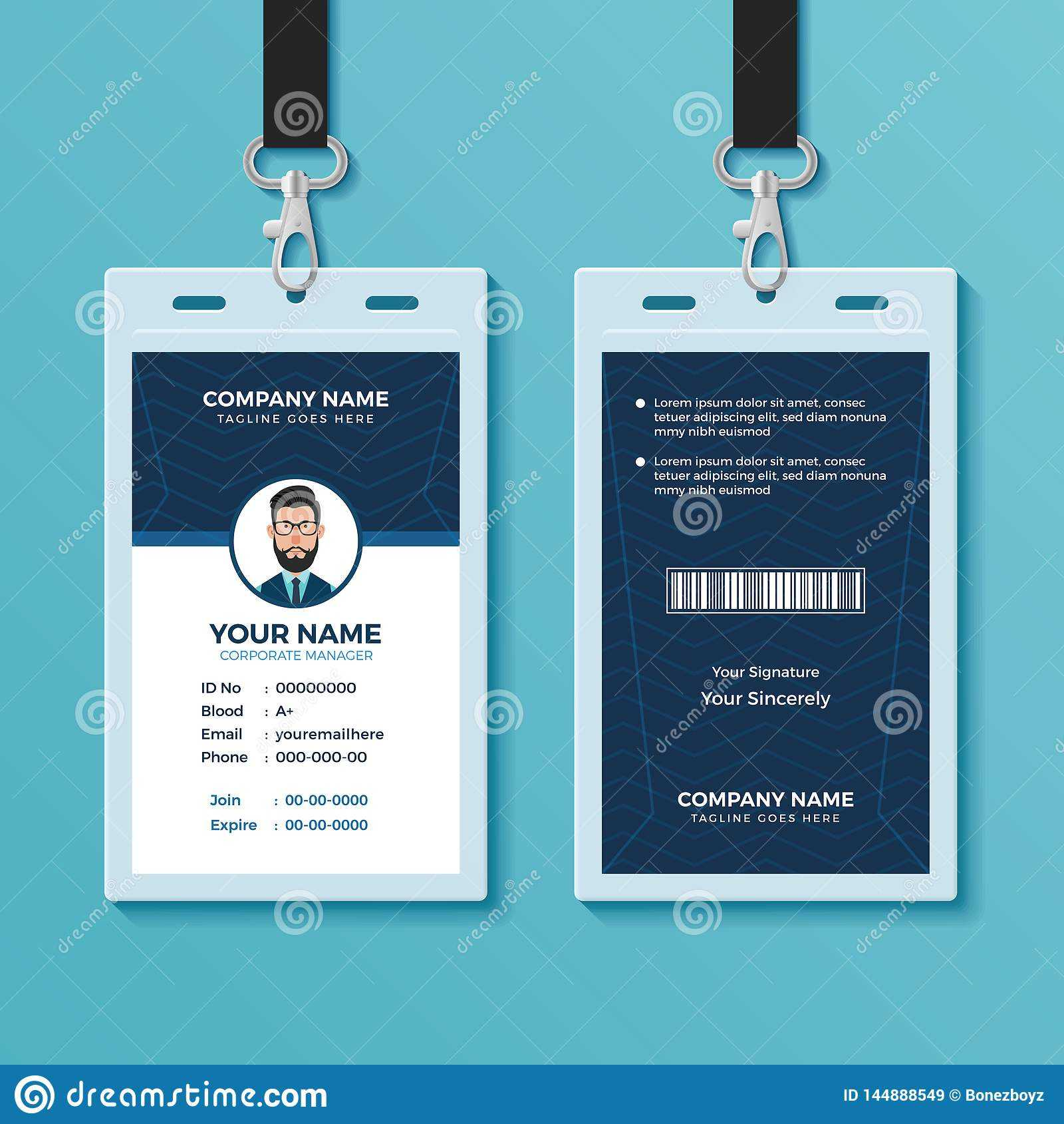 Modern And Clean Id Card Design Template Stock Vector In Conference Id Card Template