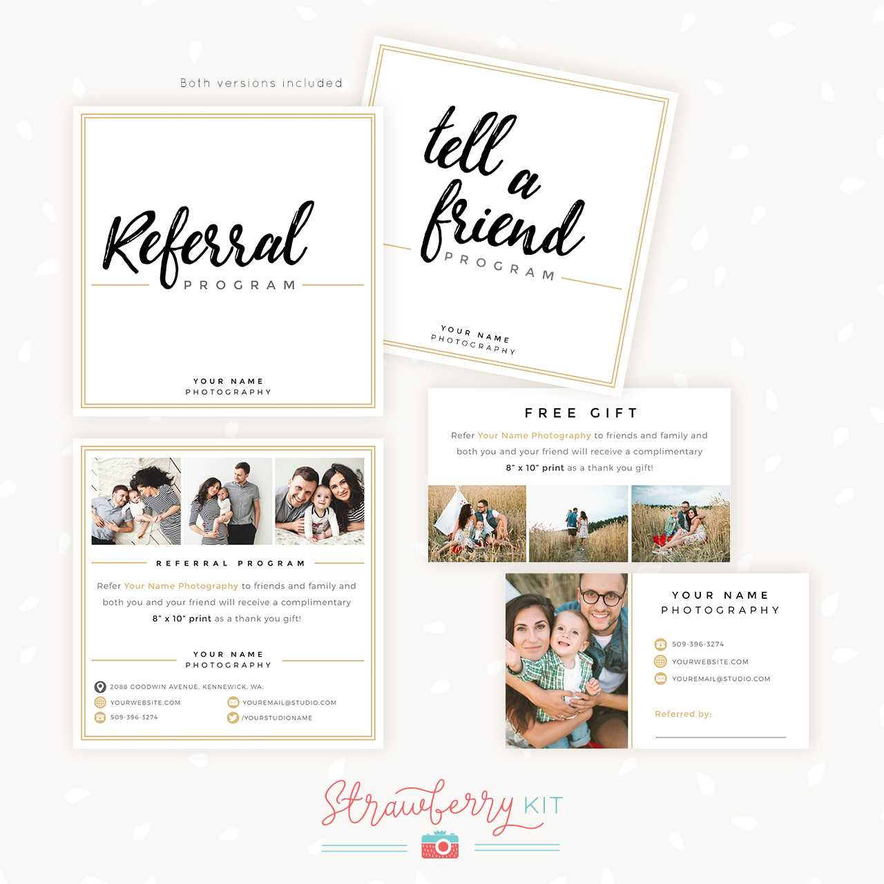 Modern Hand Lettering Referral Card Set - Strawberry Kit With Referral Card Template