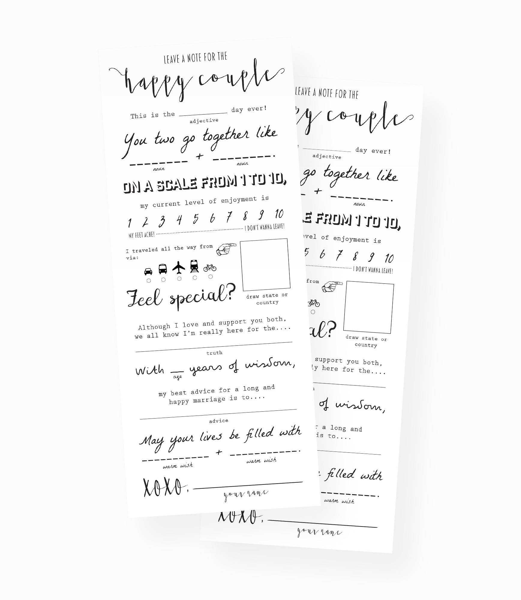 Modern Wedding Advice Card Mad Lib Keepsake Marriage Etsy 50 Throughout Marriage Advice Cards Templates