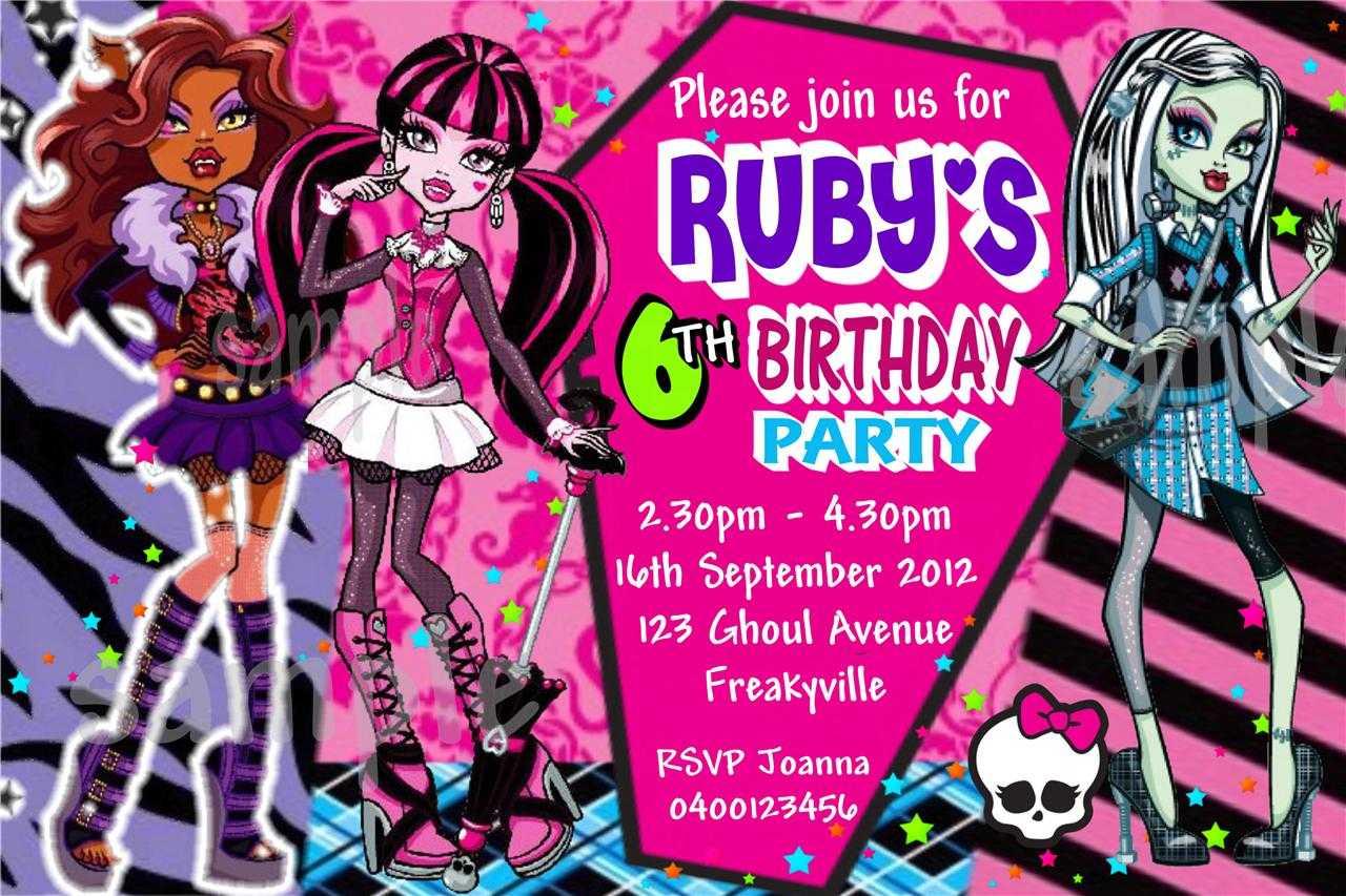 Monster High Birthday Card Template ] - Monster High Niece Inside Monster High Birthday Card Template