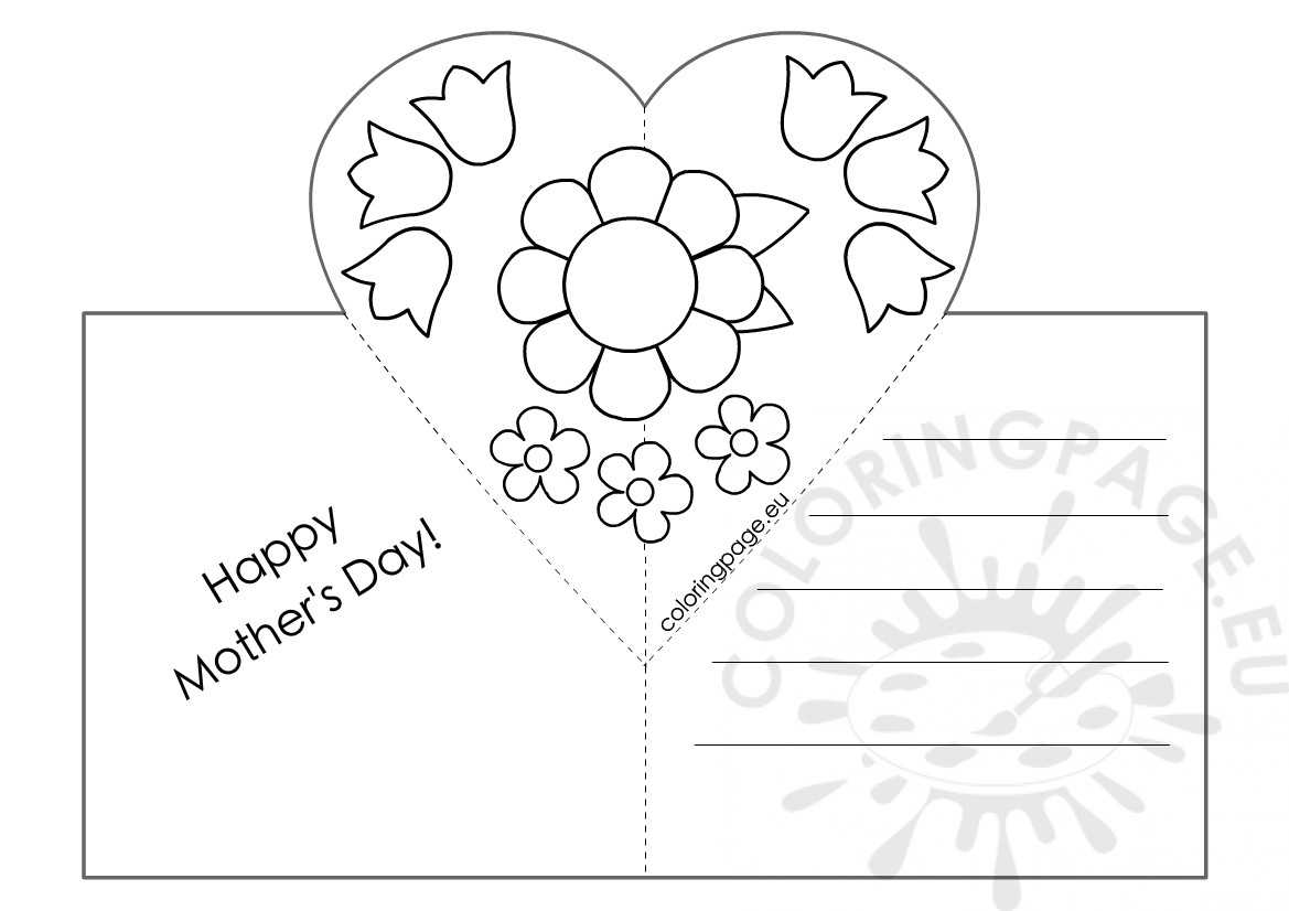 Mothers Day Card With Heart Pop Up Template – Coloring Page With Pop Out Heart Card Template
