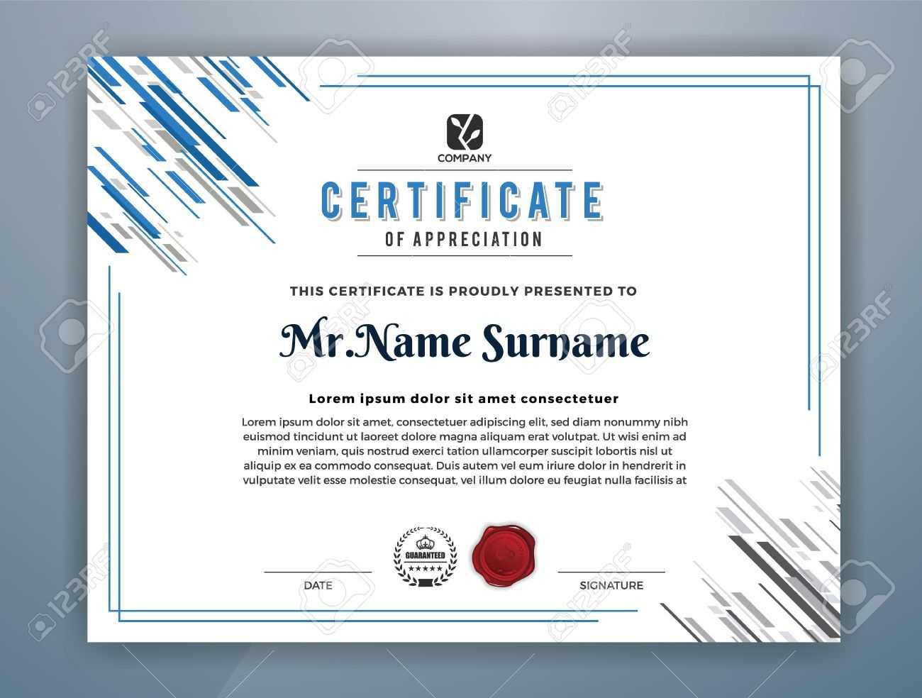 Multipurpose Modern Professional Certificate Template Design.. For Design A Certificate Template