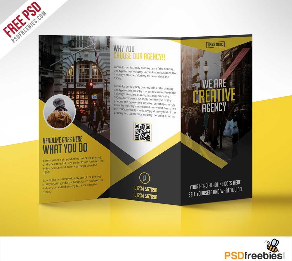 Multipurpose Trifold Business Brochure Free Psd Template In 3 Fold Brochure Template Free
