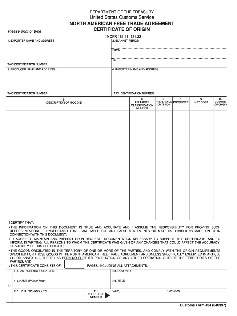Nafta Certificate Of Origin - Fill Online, Printable In Nafta Certificate Template