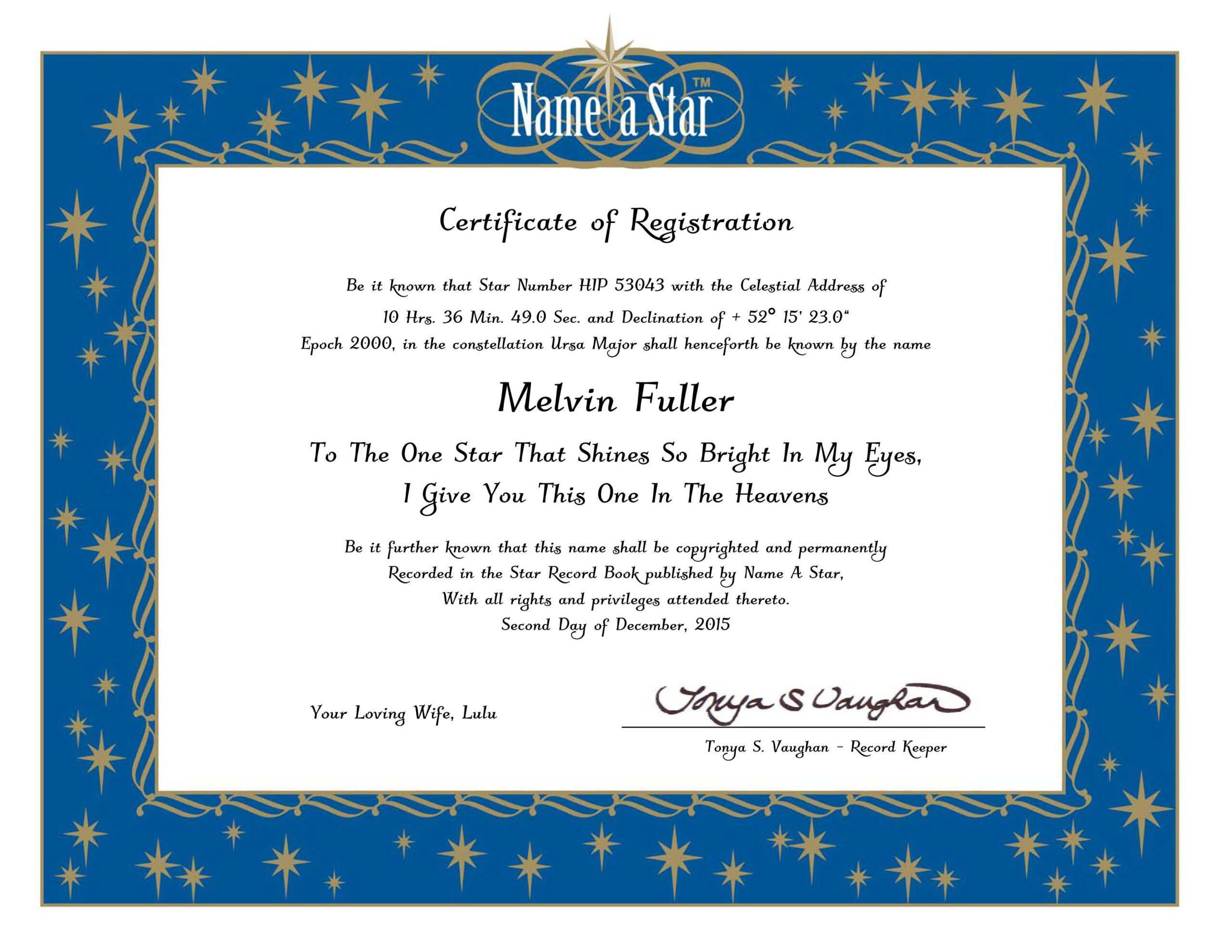 Naming Certificates Free Templates. Award Certificate Within Star Naming Certificate Template