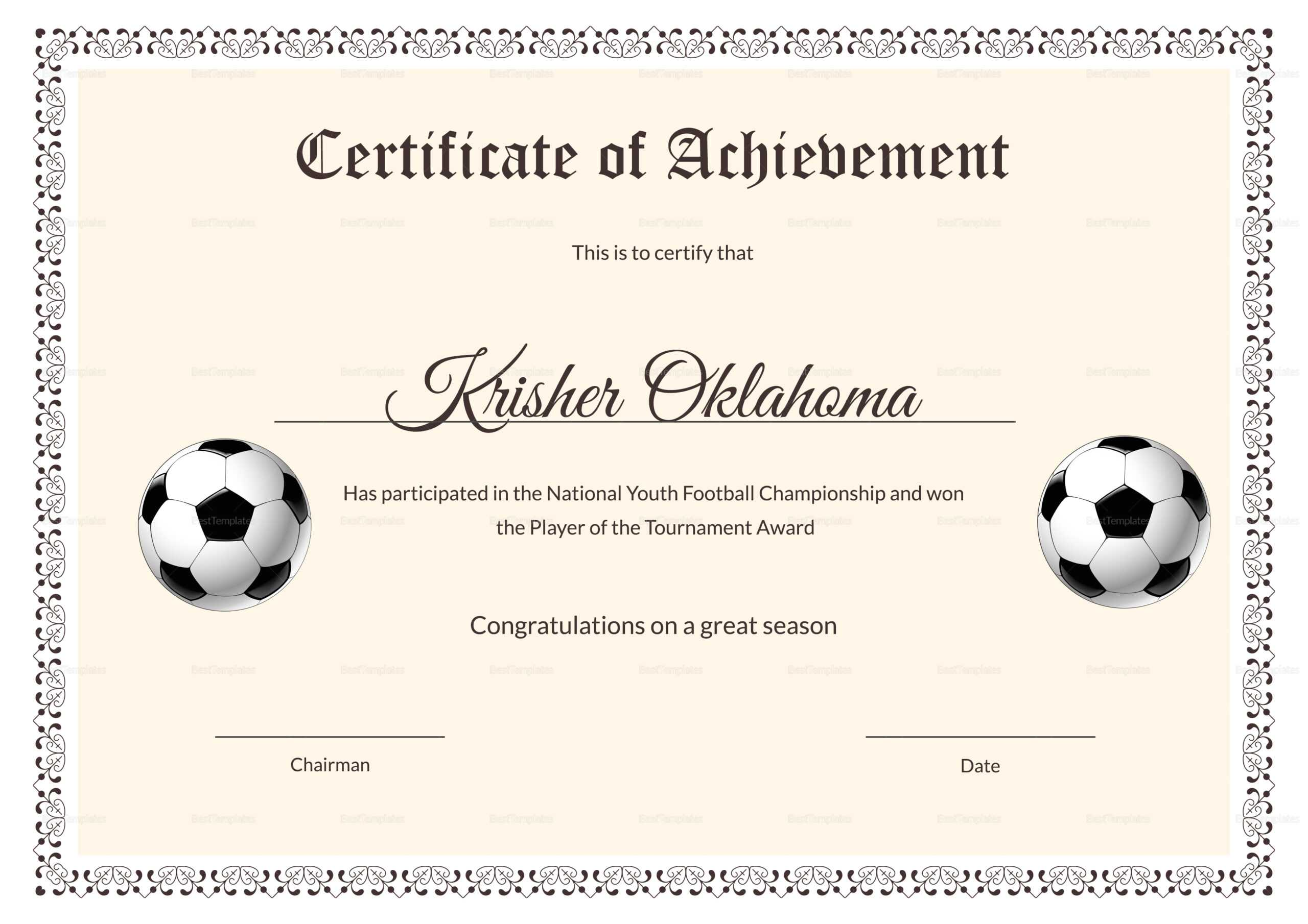 National Youth Football Certificate Template Pertaining To Football Certificate Template