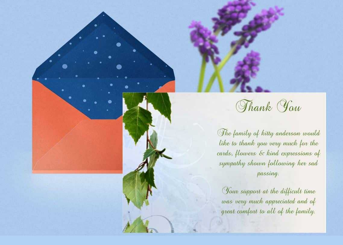 Natural Thank You Card Template Throughout Sympathy Thank You Card Template