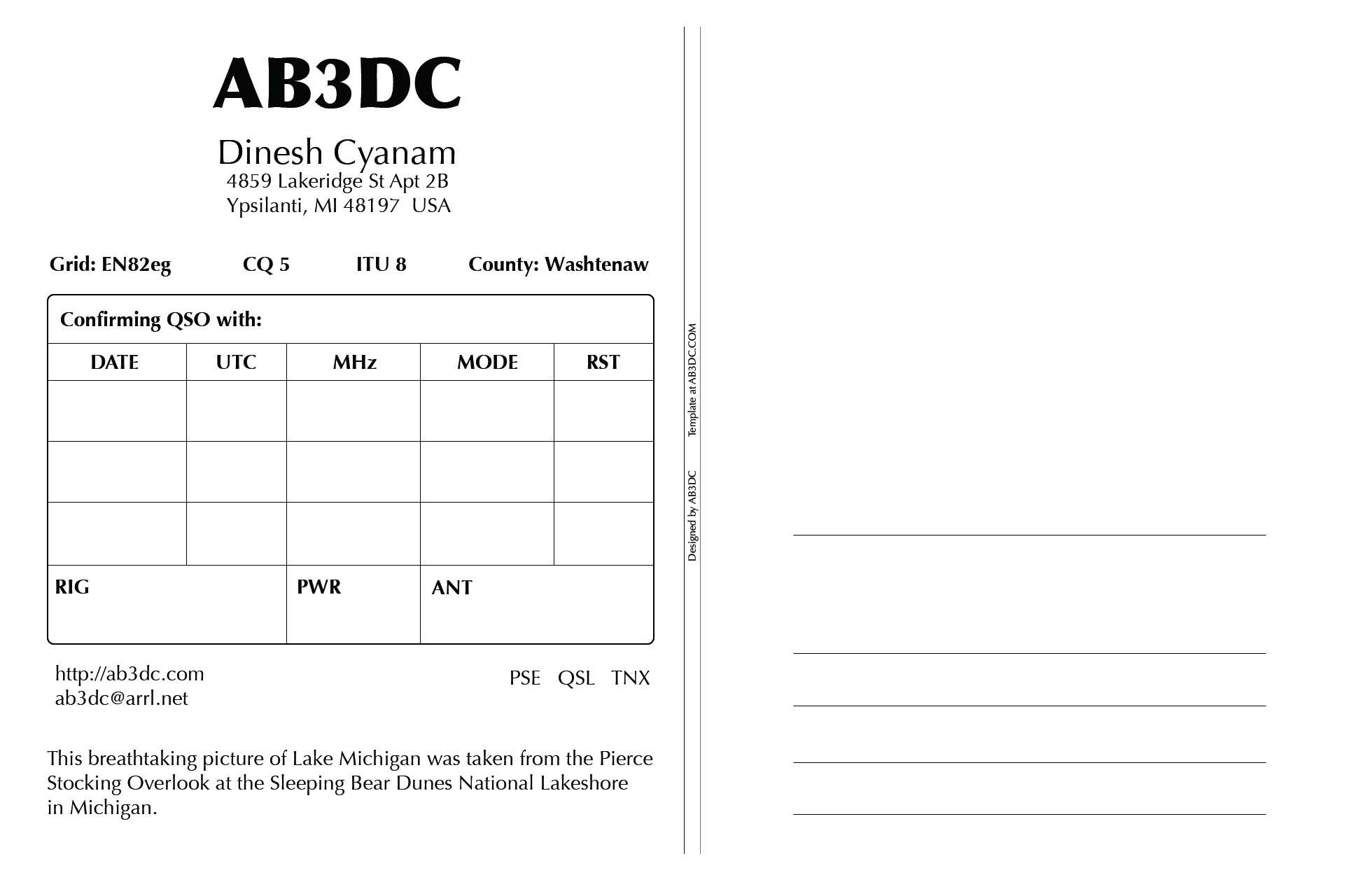 New Qsl Cards Design – Ab3Dc's Ham Radio Blog With Regard To Qsl Card Template