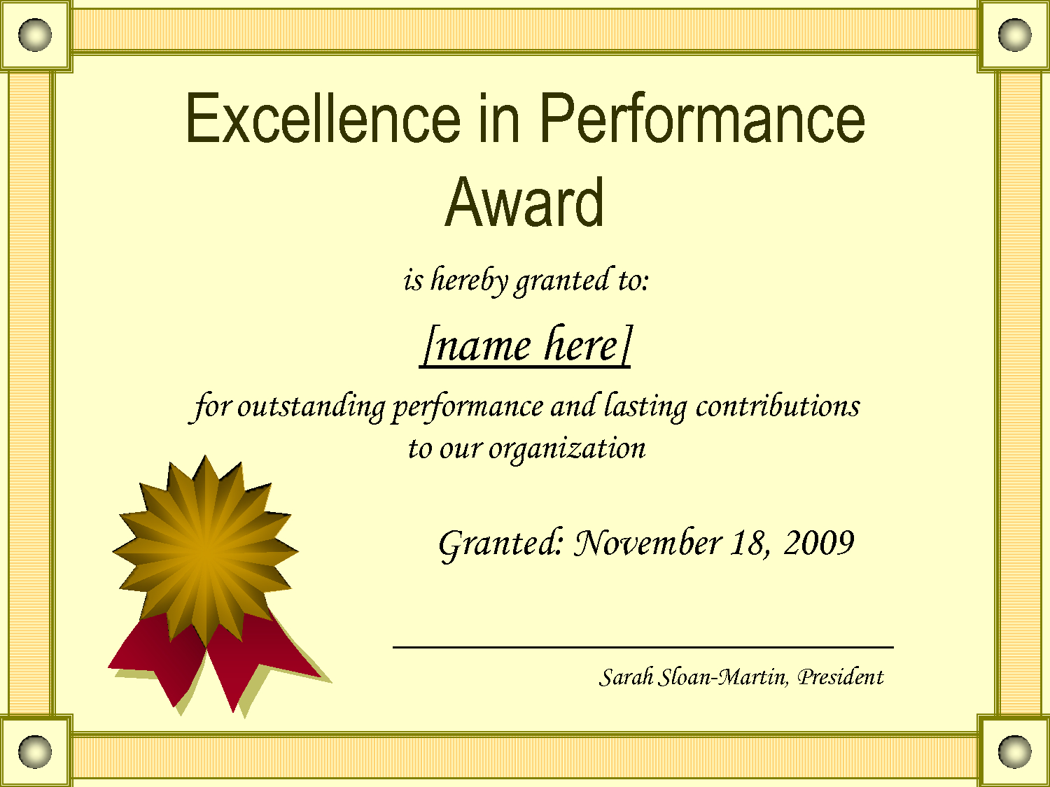 Outstanding Excellence In Performance Awards Certificate Inside Best Performance Certificate Template