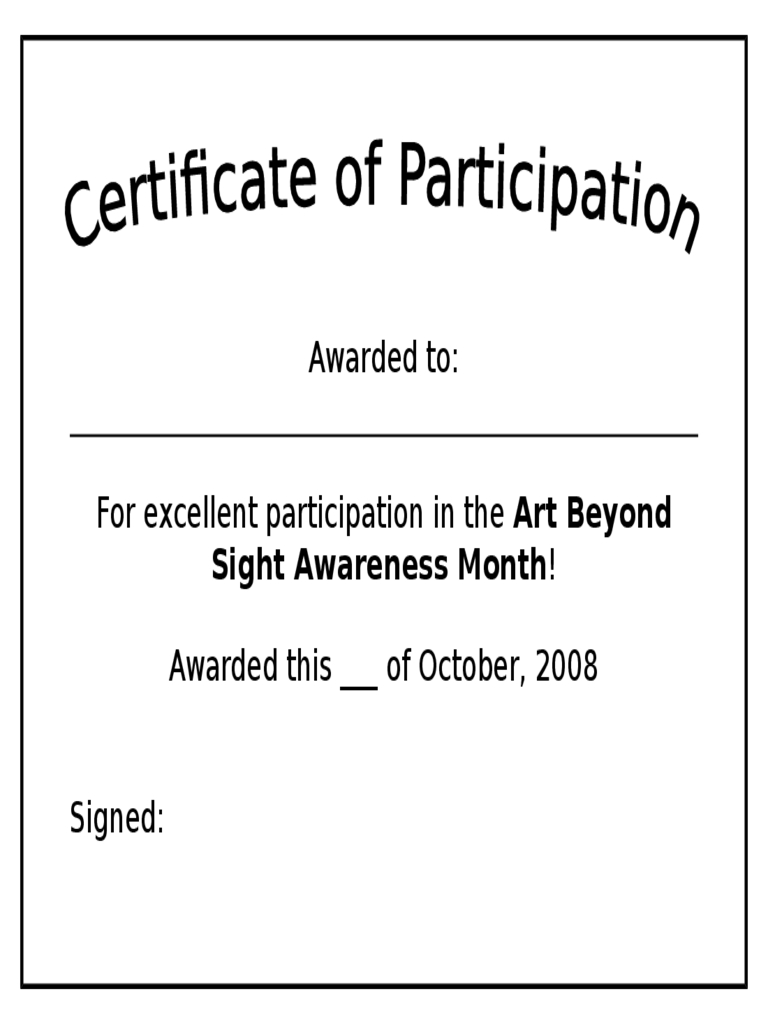 Participation Certificate – 6 Free Templates In Pdf, Word Pertaining To Certificate Of Participation Template Doc