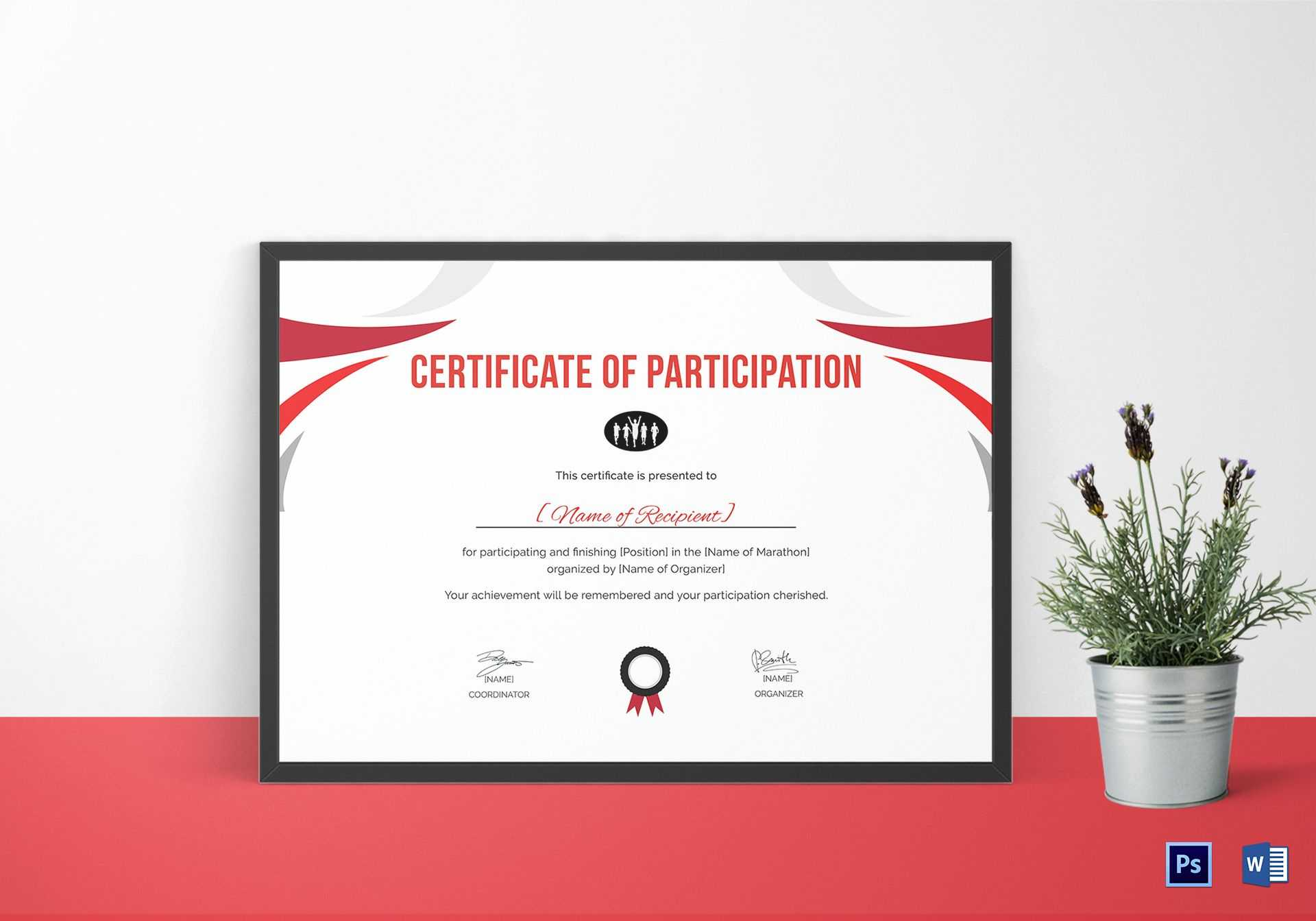 Participation Certificate For Running Template Throughout Running Certificates Templates Free