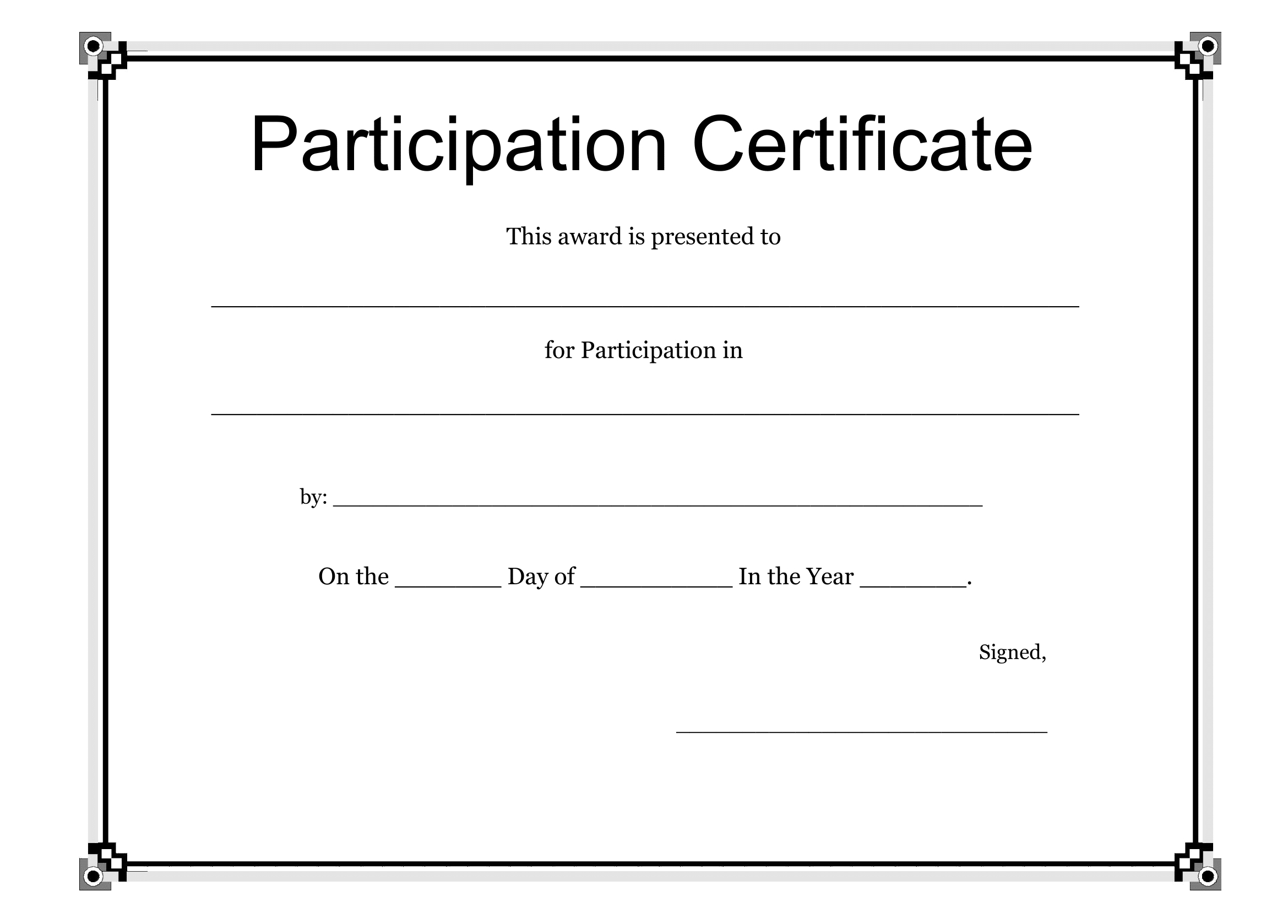 Participation Certificate Template – Free Download With Participation Certificate Templates Free Download