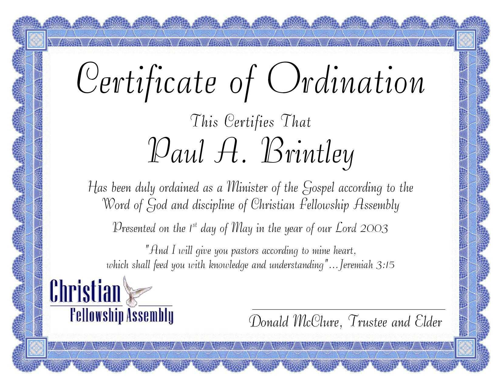 Pastoral Ordination Certificatepatricia Clay - Issuu Regarding Certificate Of Ordination Template