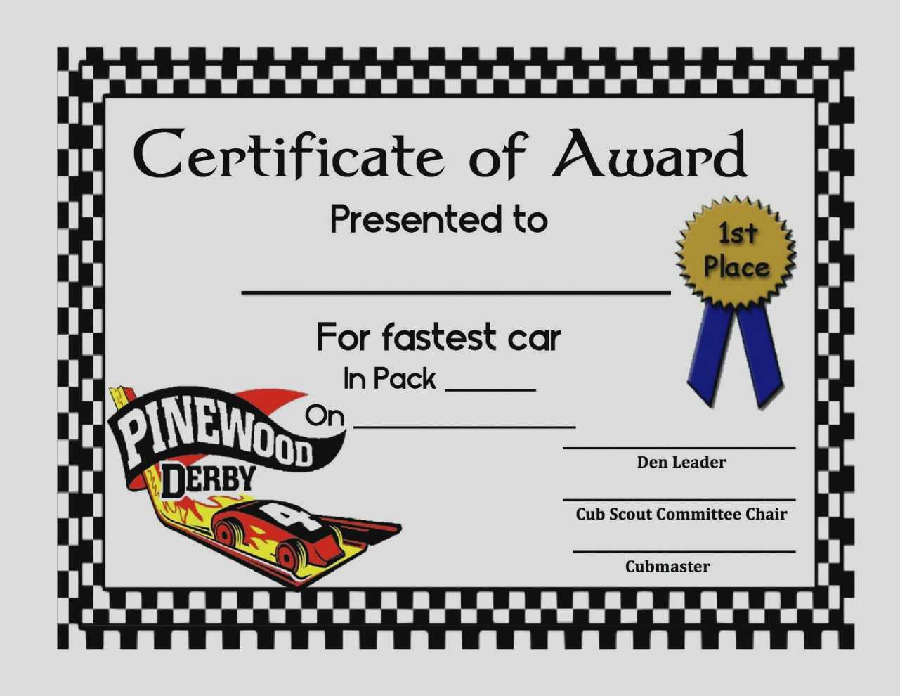 Pinewood Derby Certificate Template - C Punkt Within Pinewood Derby Certificate Template
