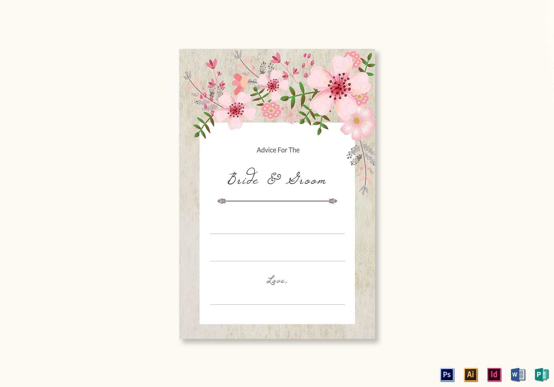 Pink Floral Wedding Advice Card Template Regarding Marriage Advice Cards Templates