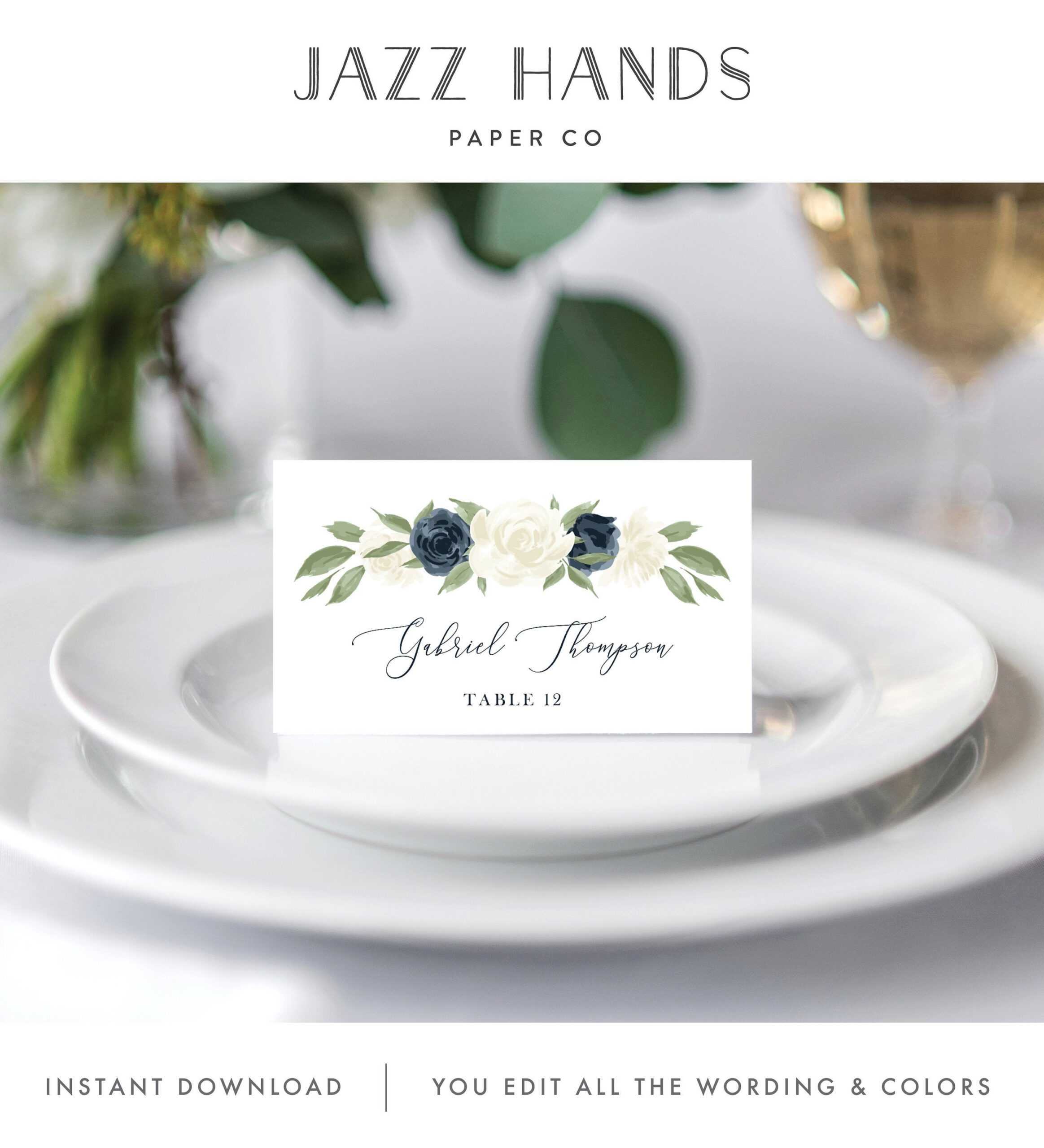 Place Card Template, Escort Card Template, Printable Wedding For Place Card Setting Template
