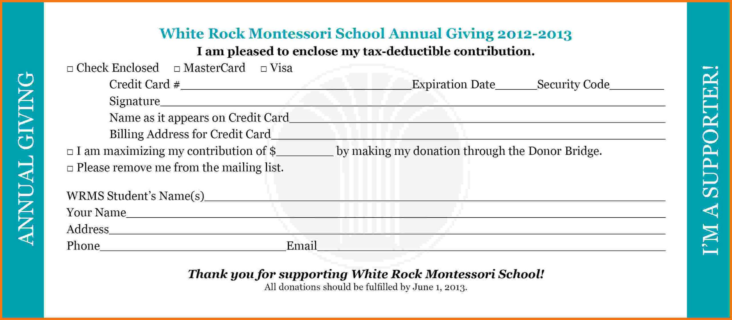 Pledge Card Clipart With Fundraising Pledge Card Template