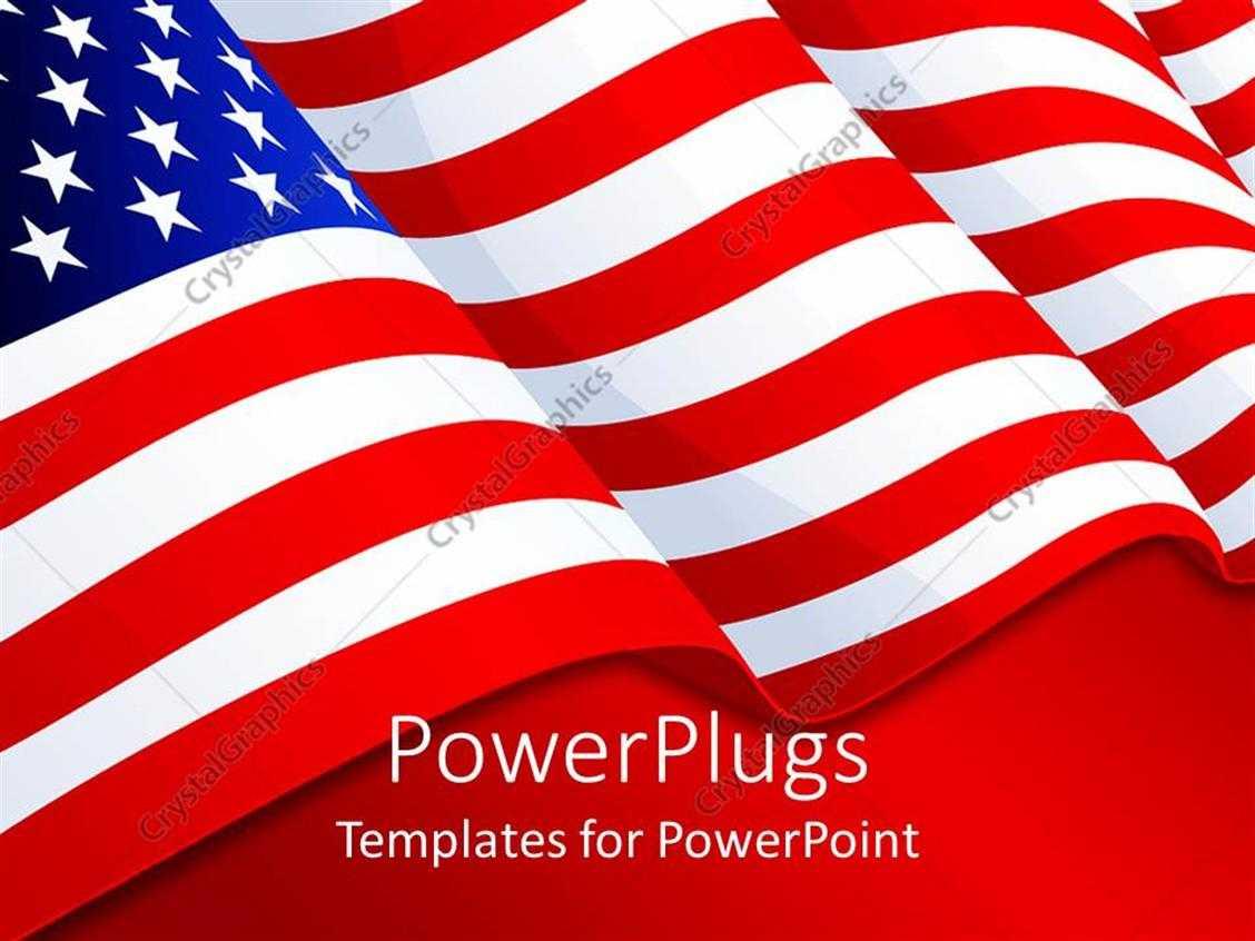 Powerpoint Template: American Flag Patriotic Background With With Regard To American Flag Powerpoint Template