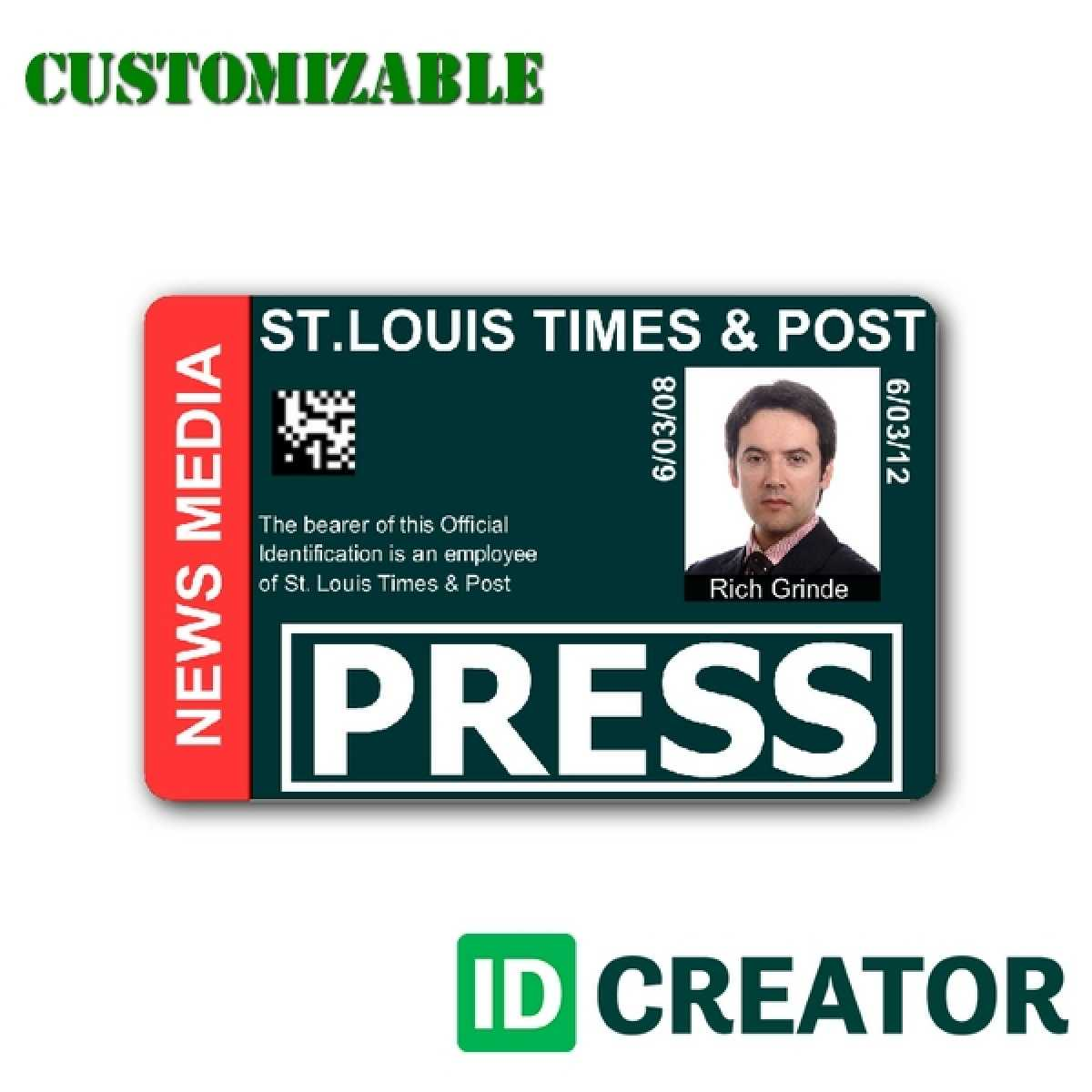 Press Id Card Template Psd Intended For Media Id Card Templates