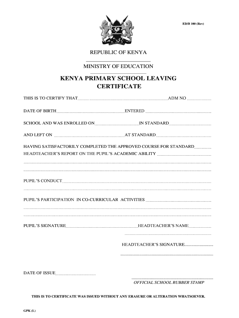 Primary School Leaving Certificate - Fill Online, Printable For Leaving Certificate Template