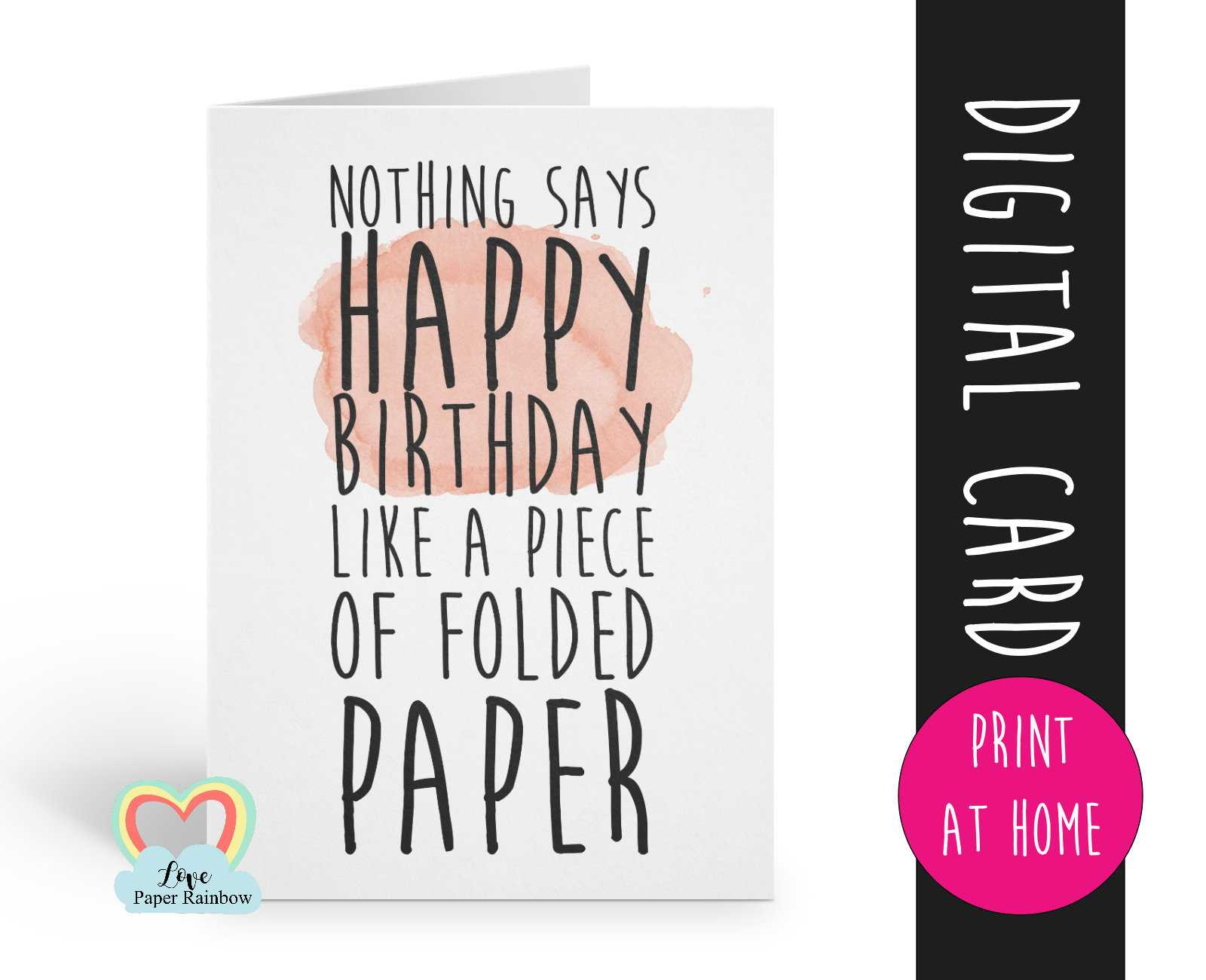 Printable Birthday Card Template Funny Birthday Card Instant For Foldable Birthday Card Template
