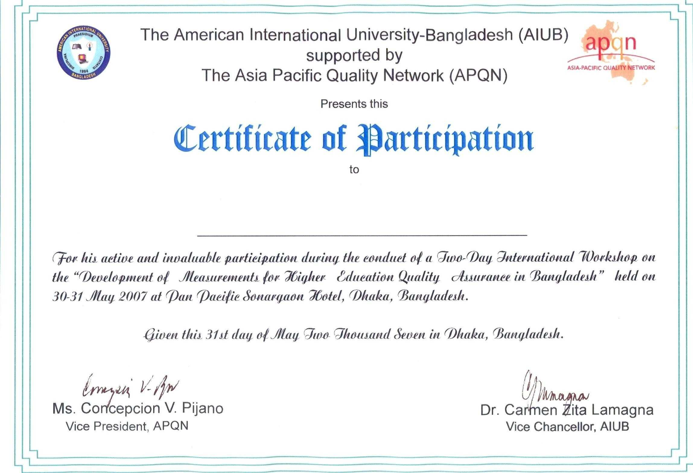 Printable Certificate Of Participation - Sample Certificate Intended For Sample Certificate Of Participation Template