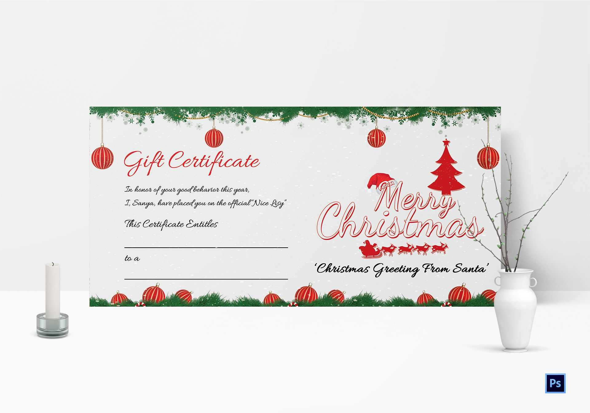 Printable Christmas Gift Certificate Template Pertaining To Christmas Gift Certificate Template Free Download