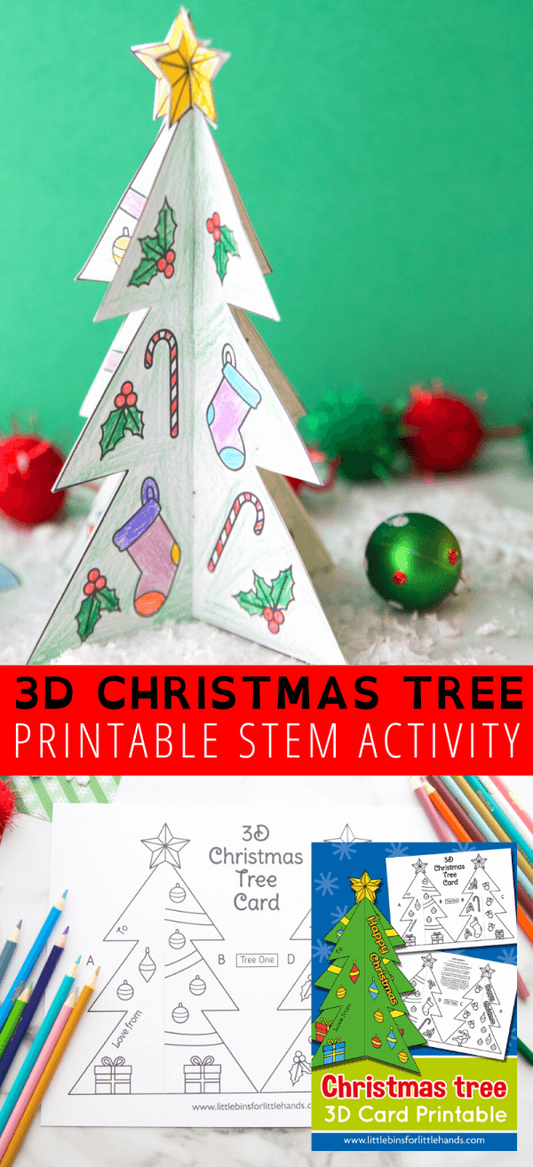 Printable Christmas Tree Template | Little Bins For Little Hands With Regard To 3D Christmas Tree Card Template